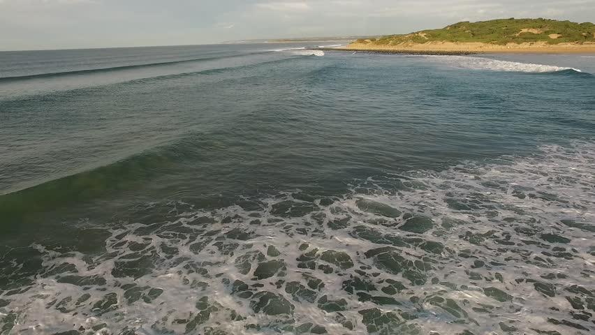 Breamlea Beach aerial flying to Torquay raw footage