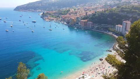 Aerial View of Villefranche-sur-Mer in the French Riviera, France, and the Mediterranean sea - 4K Video