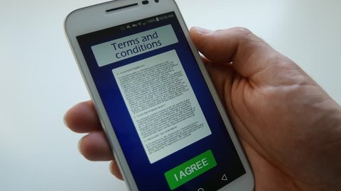 Reading and accepting the terms and conditions on a smartphone