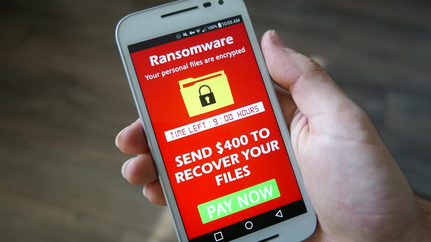 Smartphone being infected by a ransomware virus that is asking for money to retrieve the encrypted files.