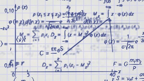math physics formulas on squared paper. computer generated loopable motion background. HD 1080 progressive