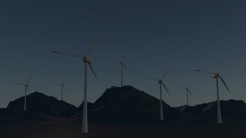 3D animation - Loop timelapse of a wind turbines in a mountain landscape