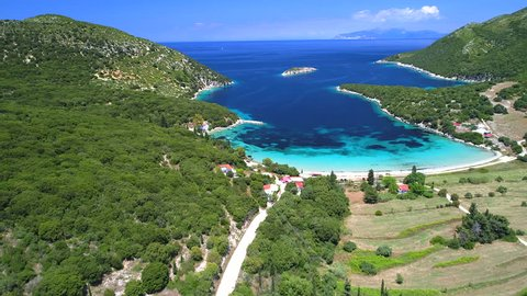 beautiful Greece landscape with amazing beaches (aerial view)
