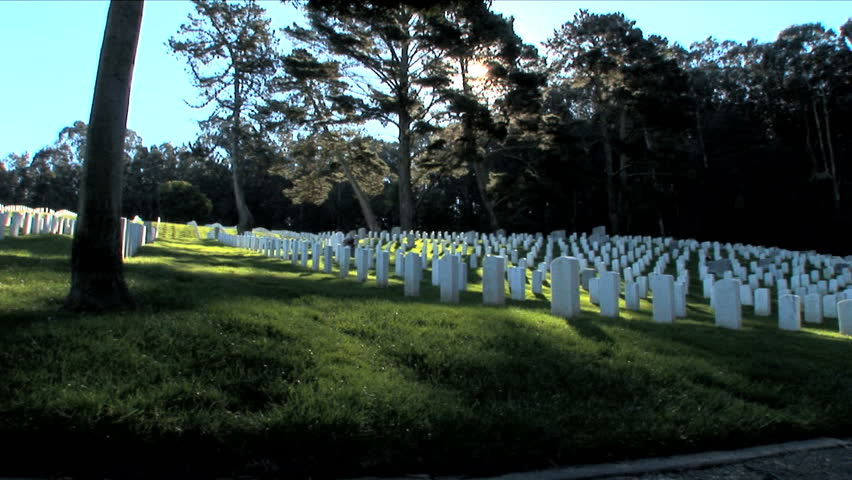 Silent rows of headstones at war memorial in San Francisco USA