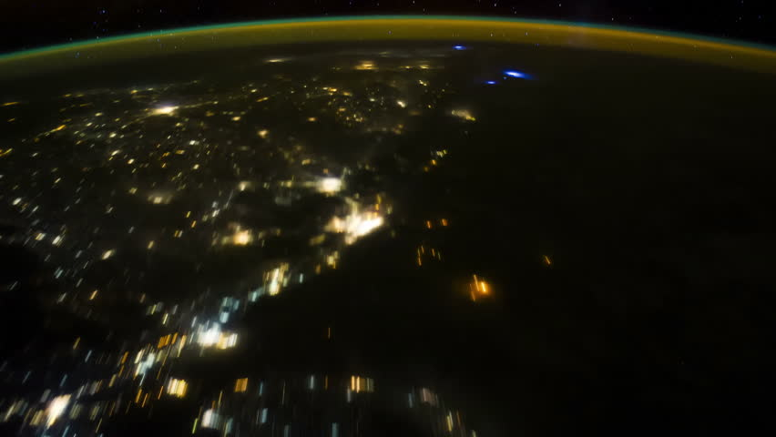 Eastern Europe to Southeastern Asia at Night. Pass over Ukraine over south australia. Visible, Black Sea, Caspian Sea, India-Pakistan border, Karachi, Sri Lanka, Indian Ocean, Perth, Aurora Australis.