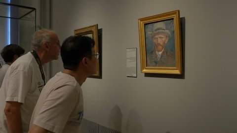 Amsterdam, Netherlands - August 17, 2016: Visitors at the Van Gogh Museum