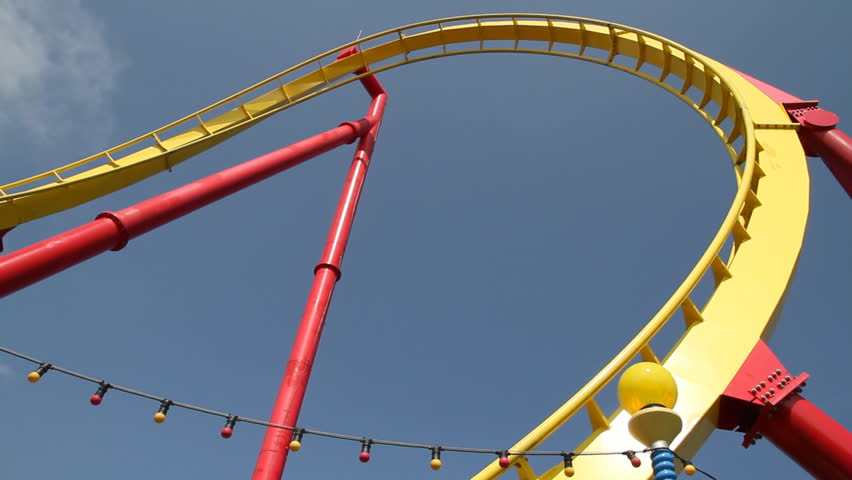 Roller coaster with blue sky