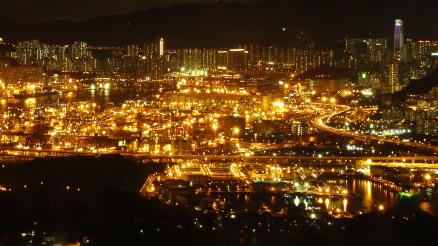 Time lapse of Hong Kong Kwai Tsing Container Terminal Panorama at Night.