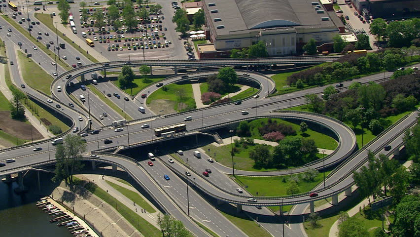 Aerial view over leaf road junction in Warsaw, Poland | Shutterstock HD Video #27772522