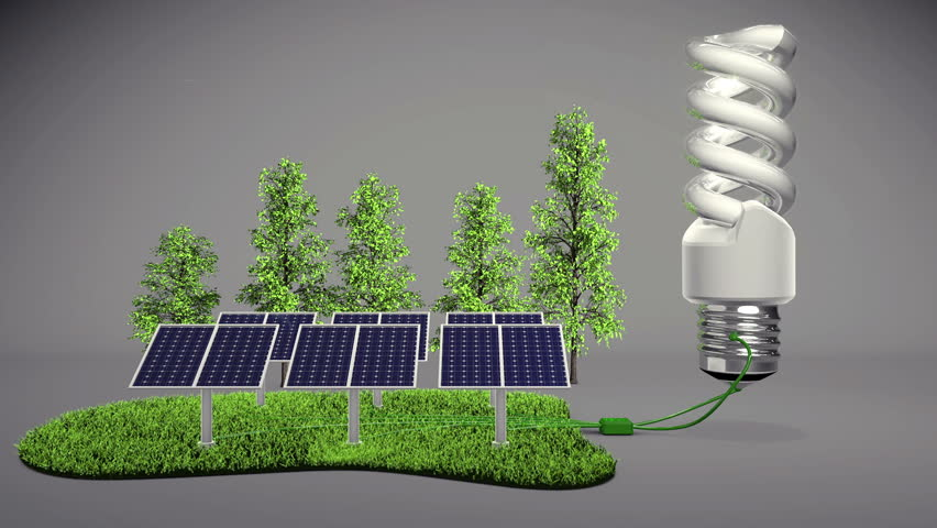 New technology vs old technology conceot. Saving the nature with the new low energy consuming technology.