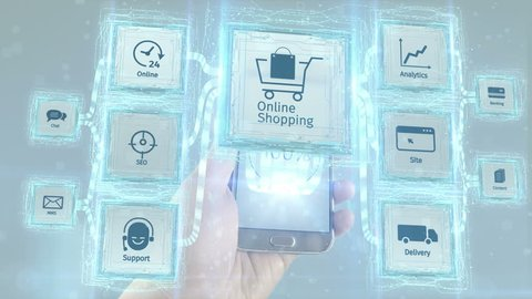 Show online on line shopping commerce business electronic use with mobile devices, scheme concept. White background.