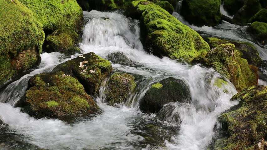 Mountain river waterfalls with stones in moss - river Gljun, Soca valley, Bovec, Slovenia, HD Video - water background, river, stream, moss rock, Virje, Triglav national park, Europe #27786817