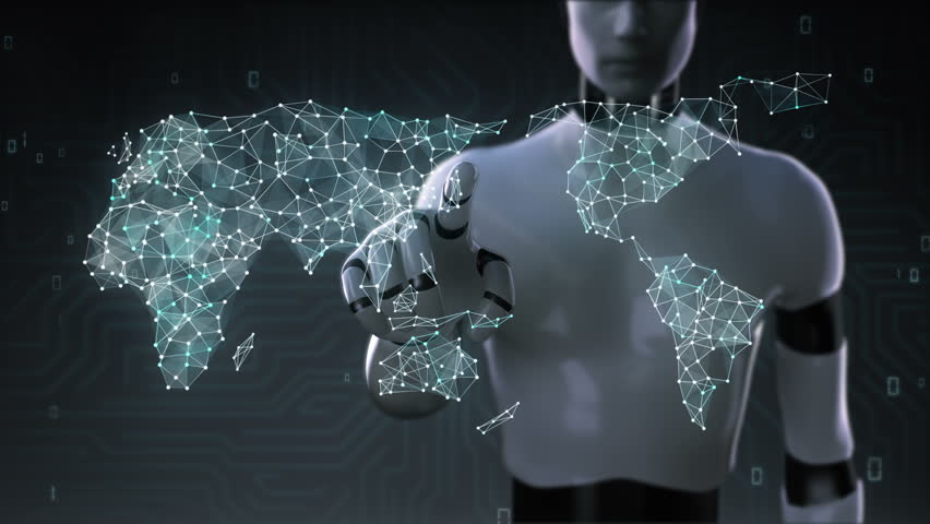 3d animation dots connecting line dots makes global world map 3d animation robot cyborg touching screen dots connecting line dots makes global sciox Choice Image
