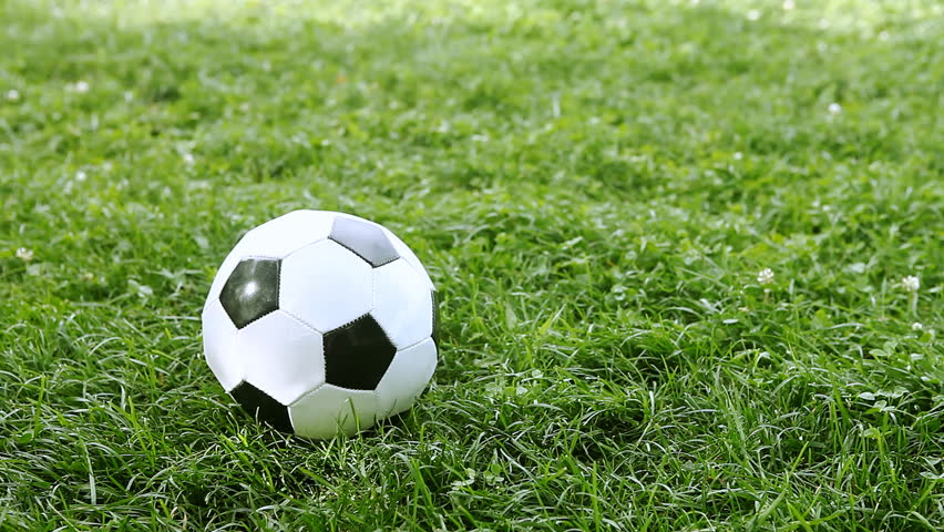 Soccer Ball Rolling On Green Grass Stock Footage Video ... Rolling Soccer Ball