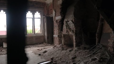 CLOSE UP: Exploring scary dark rooms and corridors in abandoned crumbling City Methodist Church, Gary Indiana. Majestic brick fortress in decline falling apart. Debris & destruction in old hotel