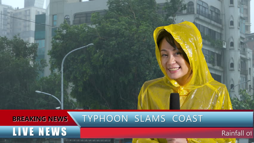 Asian Weather reporter reporting on typhoon, live news with lower thirds | Shutterstock HD Video #27838192