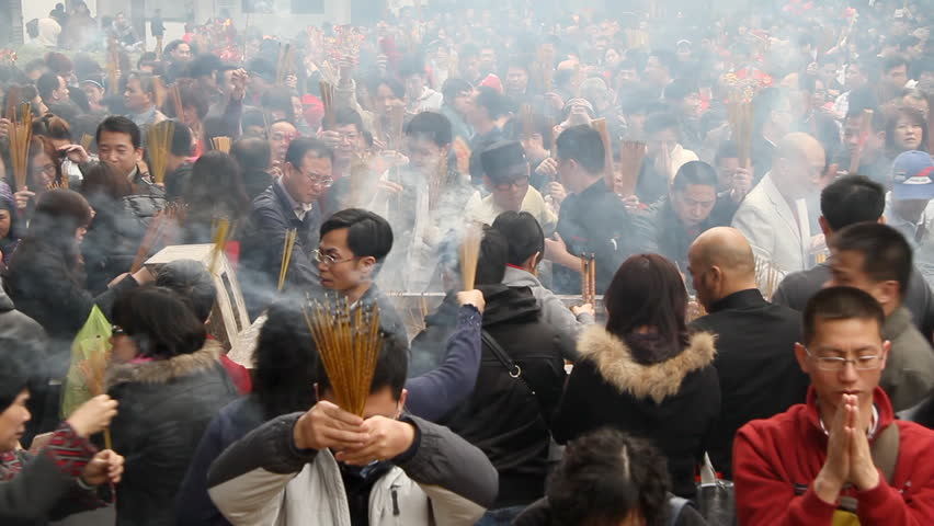 GUANGZHOU - FEBRUARY 3: People burn incense in temple during Chinese New Year on February 3, 2011 in Guangzhou, China. #2784169