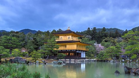 4K.Time lapse Kinkaku-ji Temple Landmark of Kyoto in Japan