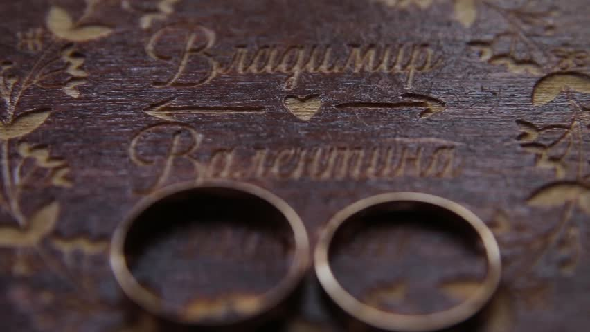 Wedding Rings In A Wooden Box Stock Footage Video