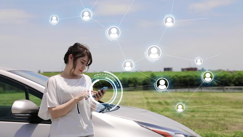Young woman using smart phone and wireless communication network. Social Networking Service. Internet of Things.   Shutterstock HD Video #27895882