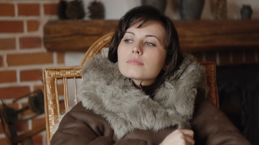 gorgeous girl making herself warm with a brown leather jacket - HD stock  footage clip