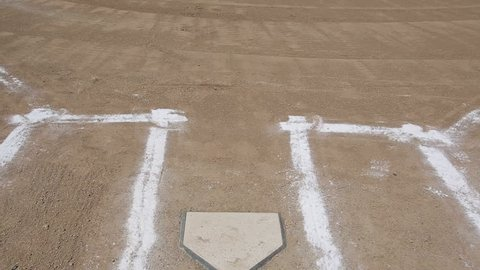 Vertical pan of a baseball diamond's home plate and batters box chalk lines.