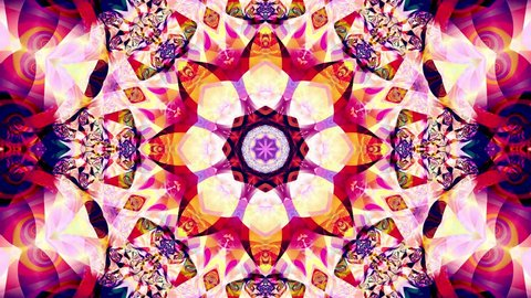 Red kaleidoscope sequence patterns. 4k Abstract multicolored motion graphics background. Or for yoga, clubs, shows, mandala, fractal animation. Beautiful bright ornament. Seamless loop.