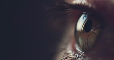 Macro Close-up eye blinking. Slow Motion, 120 fps. Young Woman is opening and closing her beautiful eye.