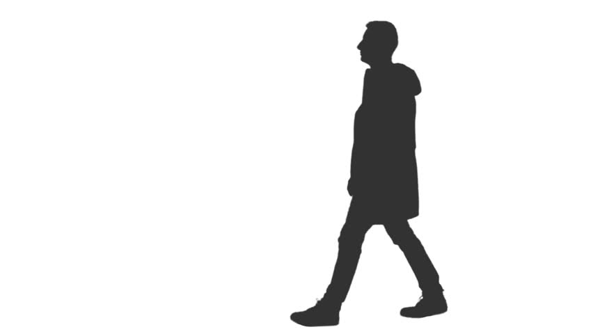 Silhouette Of A Male Walking With A Bag. Side View. Full ...