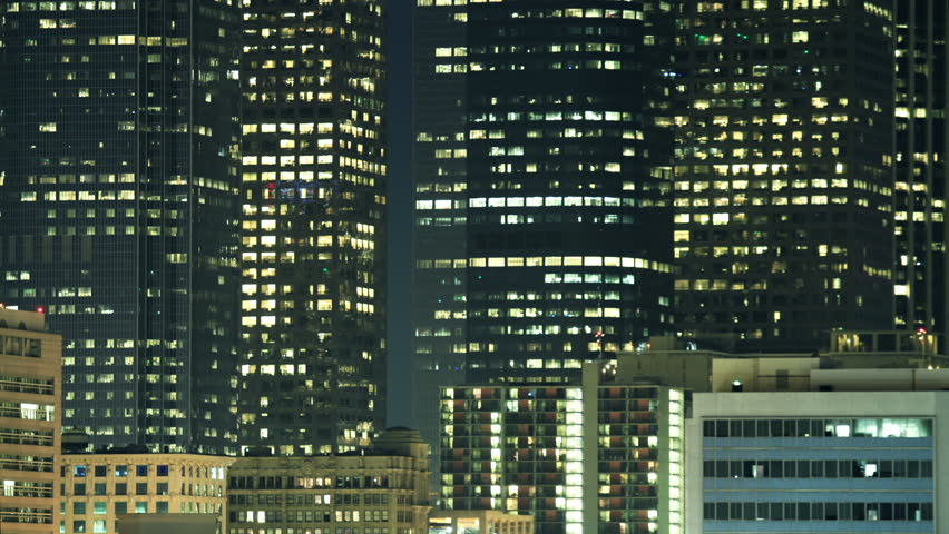 Time Lapse of flickering Lights from Office and Residential Buildings