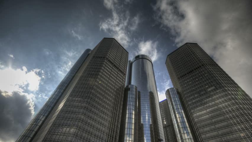 DETROIT, USA, NOV 7, 2011: HDR Timelapse Detroit's Renaissance Center. Home to General Motors World Headquarters on the Detroit River