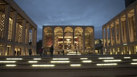 NEW YORK CITY - APRIL 2017: Lincoln Center NX nightime establishing shot. Arts, dance, culture, music, it is in the Lincoln Square neighborhood of the borough of Manhattan in New York City.