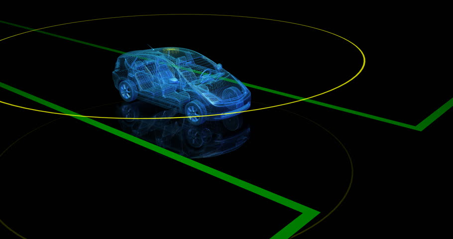Autonomous driverless wireframe car with lidar scan signal stops at intersection. 3d animation