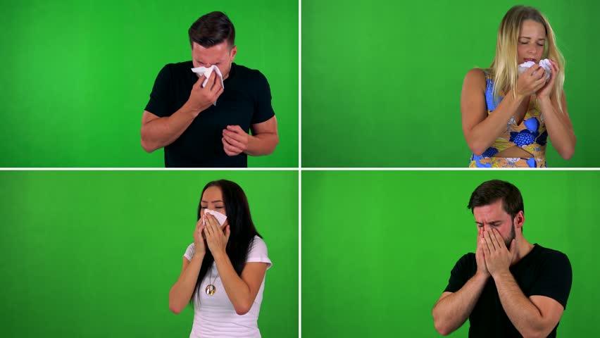 4K compilation (montage) - people use handkerchief on nose - green screen studio