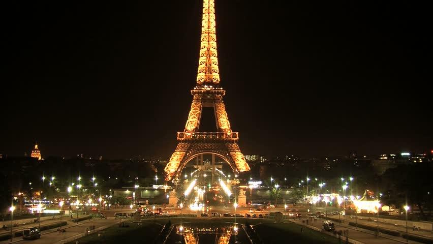 PARIS, FRANCE - CIRCA 2012: Eiffel tower at night timelapse, Paris, France