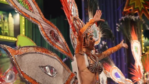 LAS PALMAS DE GRAN CANARIA, SPAIN - FEBRUARY 10: Participants in the Carnival Groups Competition present their costumes during the Carnival, February 10, 2012 in Las Palmas, Spain