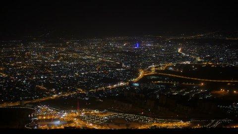 Sulaymaniah by night top view - Iraqi Kurdistan