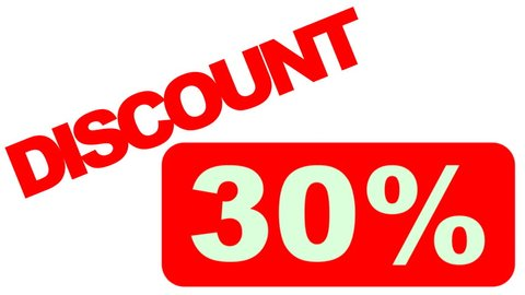 381e8012e FLYING DISCOUNT BANNER % 30 Animated discount sticker SALE %30.HD  1080.Includes
