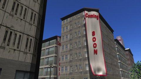 Coming soon banner unfurls on 3 buildings