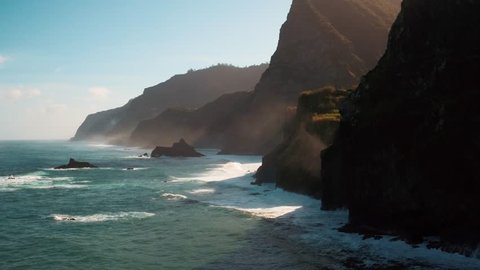Aerial view of clashing waves at the coast of Madeira (Portugal) by drone