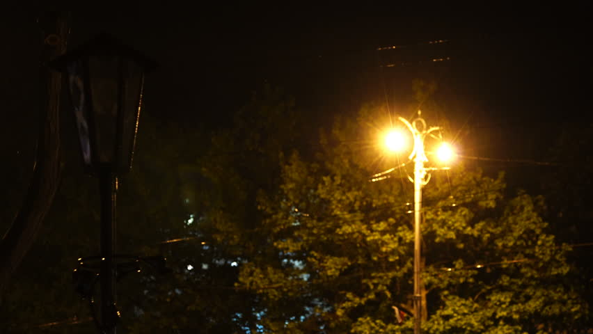 Lamppost with burning lamps at night in the rain