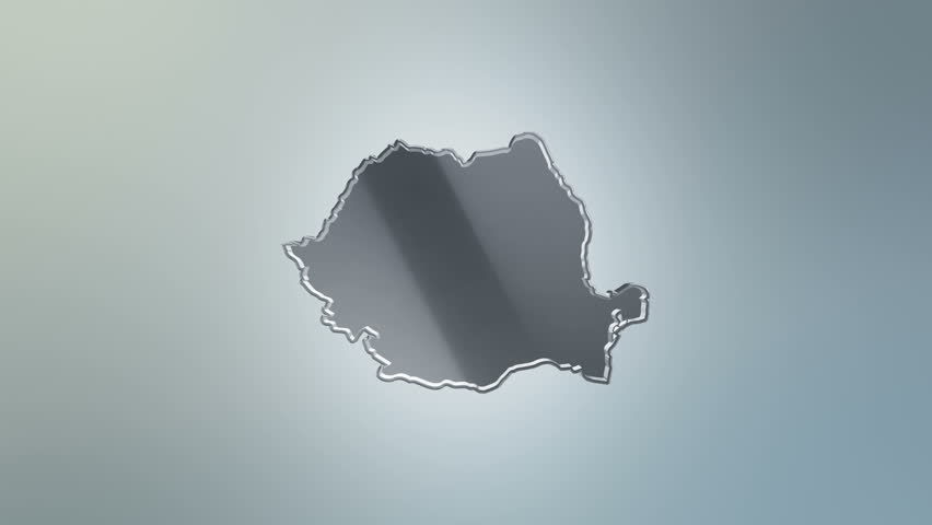 3D Animation rotation of symbol of Romania map from glass. Animation of seamless loop.   Shutterstock HD Video #28160482