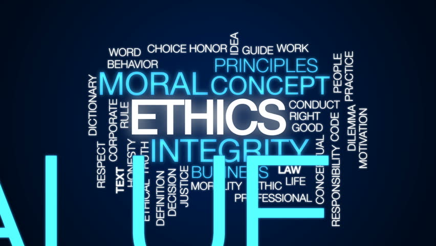 Ethics animated word cloud, text design animation.