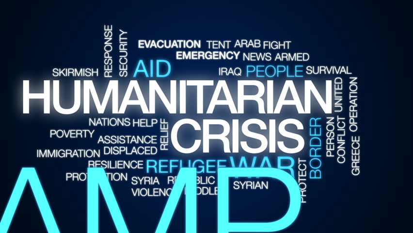 Humanitarian crisis animated word cloud, text design animation. - HD stock video clip