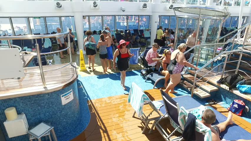 Tourists enjoying on the cruise ship-swimming; near Bermuda islands,North Atlantic ocean, 23th of November, 2016.