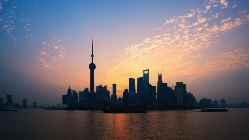 "Shanghai Sunrise,China, Time Lapse. >>> Please search similar: "" ShanghaiSkyline "" ."
