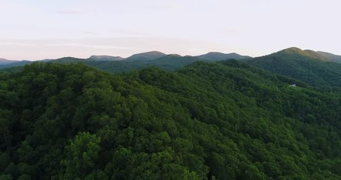 Aerial view of the Blue Ridge Mountains in Nantahala National Forest, North Carolina