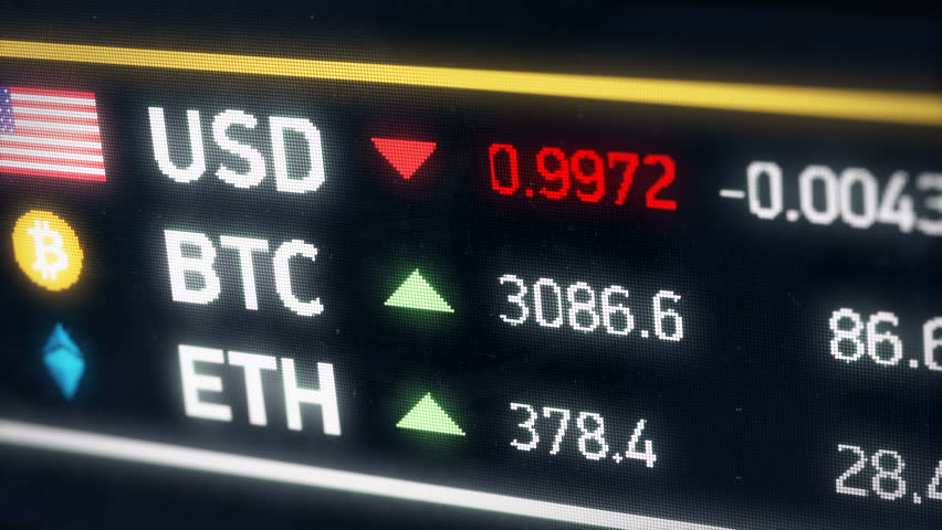 Bitcoin going up compared to US dollar, cryptocurrency prices rising on market. Digital money value rising against American dollar, cryptocurrency gaining value | Shutterstock HD Video #28268752