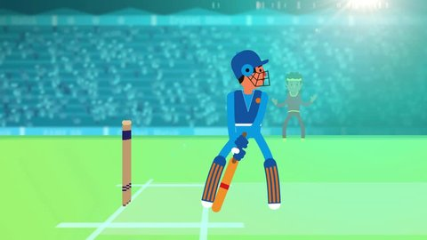 Cricket match playing between two team in a stadium at night with flood light, cheering audience - Animation, Cricket promo, Cricket intro, Digital motion graphic