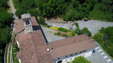 Nembro, Bergamo, June, 1, 2017. Aerial shot of the Shrine named Madonna dello Zuccarello